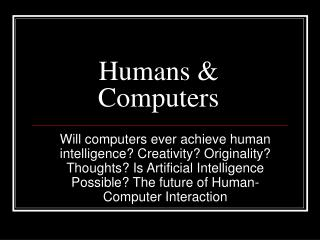 Humans & Computers