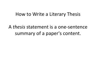 Thesis Basics