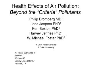 "Health Effects of Air Pollution: Beyond the ""Criteria"" Pollutants"