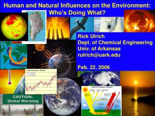 Human and Natural Influences on the Environment: Who's Doing What?
