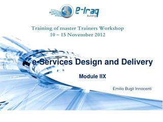Training of master Trainers Workshop 10 – 15 November 2012