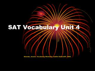 SAT Vocabulary Unit 4