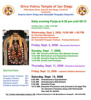 Shiva Vishnu Temple of San Diego7930 Arjons Drive