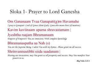 Sloka 1- Prayer to Lord Ganesha