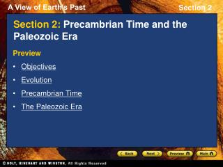 Section 2:  Precambrian Time and the Paleozoic Era