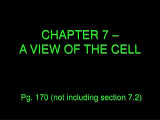 CHAPTER 7 – A VIEW OF THE CELL