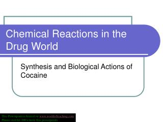 Chemical Reactions in the Drug World
