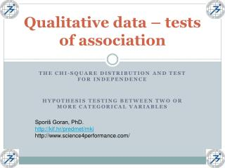 Qualitative data – tests of association