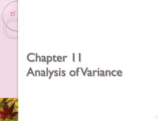 Chapter 11 Analysis of Variance