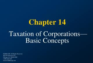 Chapter 14   Taxation of Corporations Basic Concepts