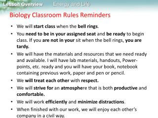Biology Classroom Rules Reminders