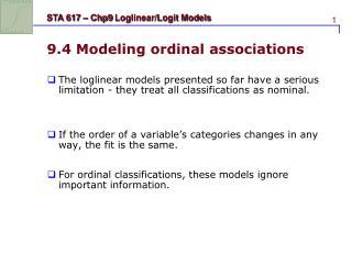 9.4 Modeling ordinal associations
