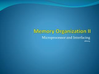 Memory Organization II