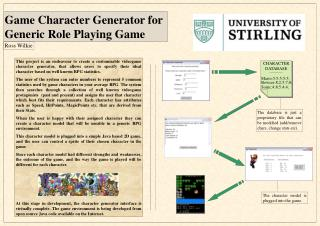 Game Character Generator for  Generic Role Playing Game