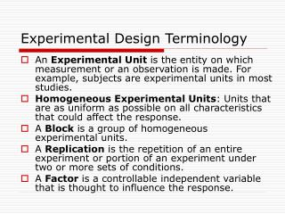 Experimental Design Terminology