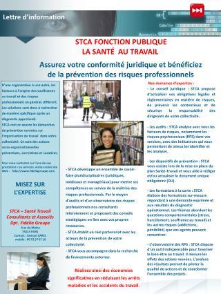 STCA FONCTION PUBLIQUE LA SANTÉ  AU TRAVAIL