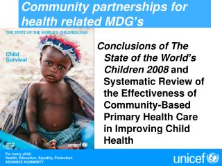 Community partnerships for health related MDG s