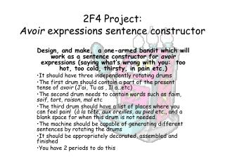 2F4 Project: Avoir  expressions sentence constructor