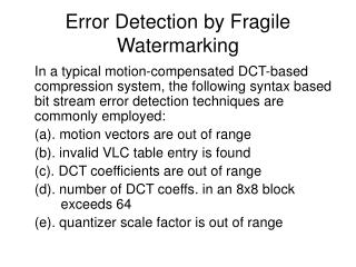 Error Detection by Fragile Watermarking