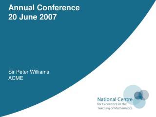 Sir Peter Williams ACME