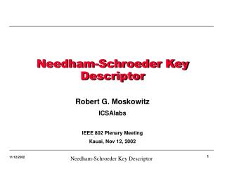 Needham-Schroeder Key Descriptor