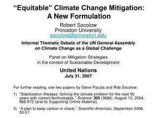 """Equitable"" Climate Change Mitigation:  A New Formulation"