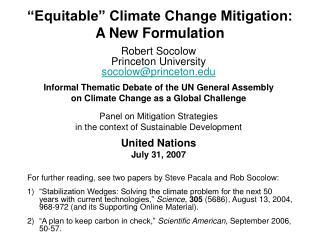 �Equitable� Climate Change Mitigation:  A New Formulation