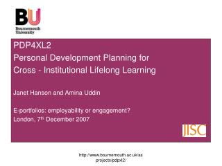PDP4XL2 Personal Development Planning for  Cross - Institutional Lifelong Learning