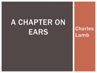 A Chapter on Ears