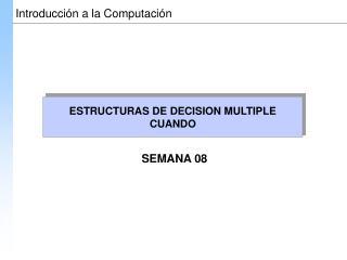 ESTRUCTURAS DE DECISION MULTIPLE CUANDO