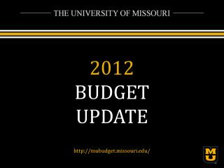 2012 BUDGET UPDATE