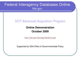 Federal Interagency Databases Online fido