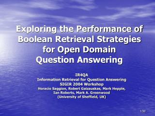 Exploring the Performance of Boolean Retrieval Strategies for Open Domain Question Answering