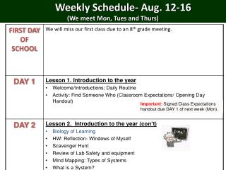 Weekly Schedule- Aug.  12-16 (We meet Mon, Tues and Thurs)