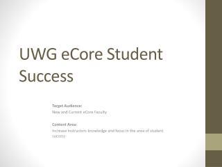 UWG eCore Student Success
