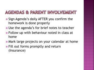 Agendas & Parent Involvement