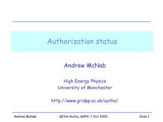 Authorization status