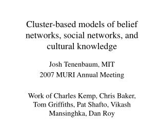 Cluster-based models of belief networks, social networks, and cultural knowledge