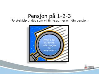 Pensjon på 1-2-3 Førstehjelp til deg som vil finne ut mer om din pensjon