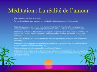 Méditation : La réalité de l'amour