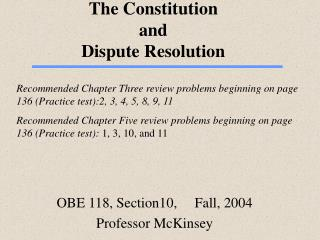 The Constitution  and  Dispute Resolution