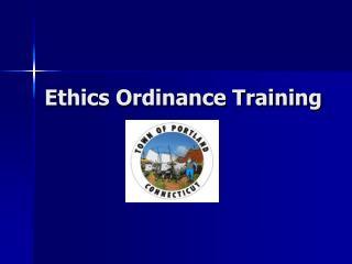 Ethics Ordinance Training