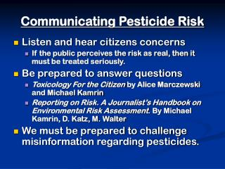 Communicating Pesticide Risk