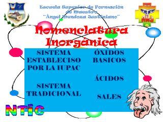 """Escuela Superior de Formación  de Maestro """"Ángel Mendoza Justiniano"""" Nomenclatura Inorgánica"""