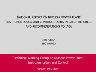 Technical Working Group on Nuclear Power Plant Instrumentation and Control  Vienna, May 2009