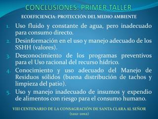 CONCLUSIONES:  PRIMER TALLER
