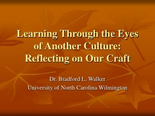 Learning Through the Eyes of Another Culture: Reflecting on Our Craft