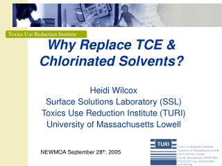 Why Replace TCE  Chlorinated Solvents