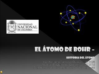 EL ÁTOMO DE BOHR –  historia del átomo
