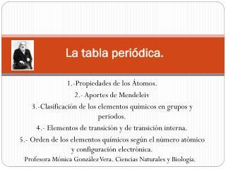 L a tabla periódica.